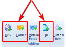 Options to add disk, folder and file to the catalog