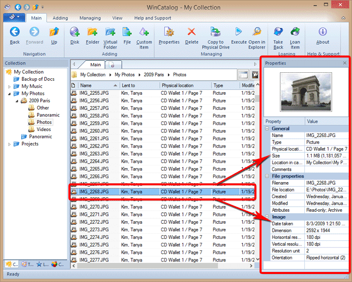 Properties panel displays most important info about your files and folders