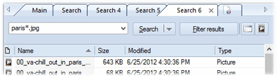 Search through your disk catalog using tabs