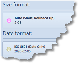 Size and Date Formats