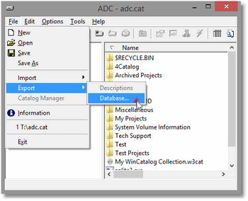Advanced Disk Catalog Export Step 1