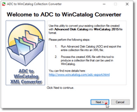Advanced Disk Catalog to WinCatalog Converter Step 1